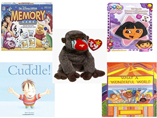 Dora The Explorer Memory Game - Children's Gift Bundle - Ages 3-5 [5 Piece] - The Disney Edition Memory Game - Nickelodeon Dora The Explorer Star 5 Non-Slip Tub Treads - Ty Beanie Baby - Cheeks The Baboon - Cuddle. Hardcover Book
