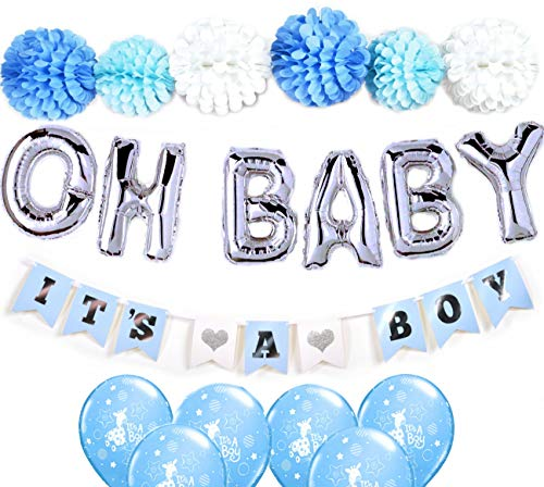 Baby Shower Decorations kit for Boy/OH BABY letters balloons, Easy set up flower pom poms, It's a Boy Banners and blue balloons, Blue, White and Silver Grey Baby Shower, Unique Baby shower -