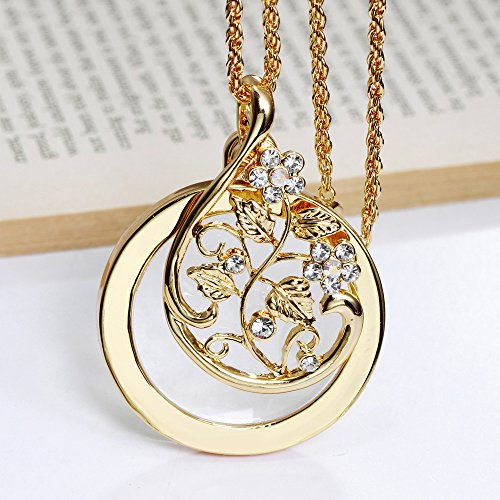 WESEAZON Handheld Magnifier Classic Magnifier Glass Convex Lens Old Man Reading Glasses 2X Lady Necklace Magnifier Gold Diameter 40mm Necklace 650mm ()