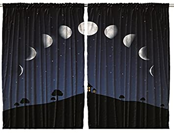 Amazoncom Kids Curtains Phases Of The Moon And Stars Outer Space - Amazon living room curtains