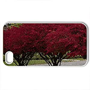 Rosy Red Autumn Bushes - For Apple Iphone 5/5S Case Cover (Forces of Nature Series, Watercolor style, White)
