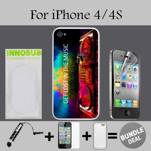 Get Los in Music EDM Custom iPhone 4 Cases/4S Cases-Clear-Plastic,Bundle 3in1 Comes with HD Screen Protector/Universal Stylus Pen by innosub