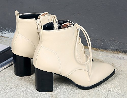 Mode Femme Aisun Pointu Bout Cheville Bottines Beige Chunky q4Ofpw6