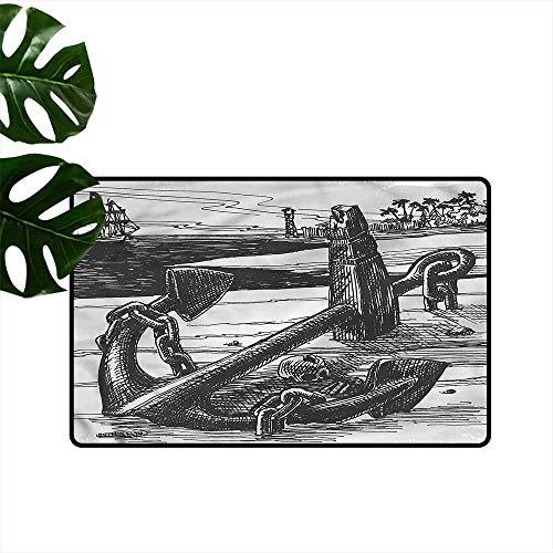 (Pet Door mat Anchor Pirate Skull Exotic Island Personality W30 xL39)