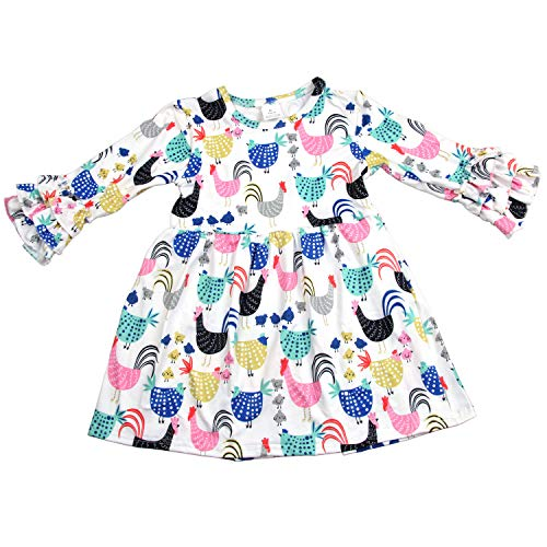 Baby Girl Cartoon Chicken Long-Sleeves Ruffle Dress Birthday Party Floral Girl Dress 5T