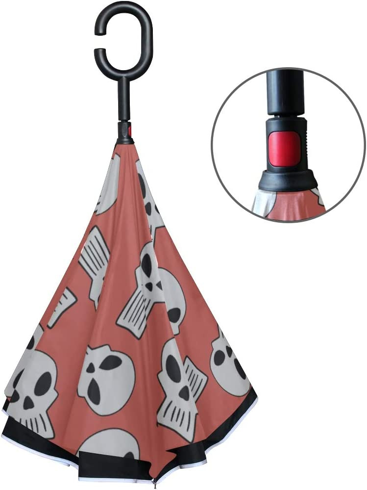 Double Layer Inverted Inverted Umbrella Is Light And Sturdy Skull Cool Coral Back Reverse Umbrella And Windproof Umbrella Edge Night Reflection