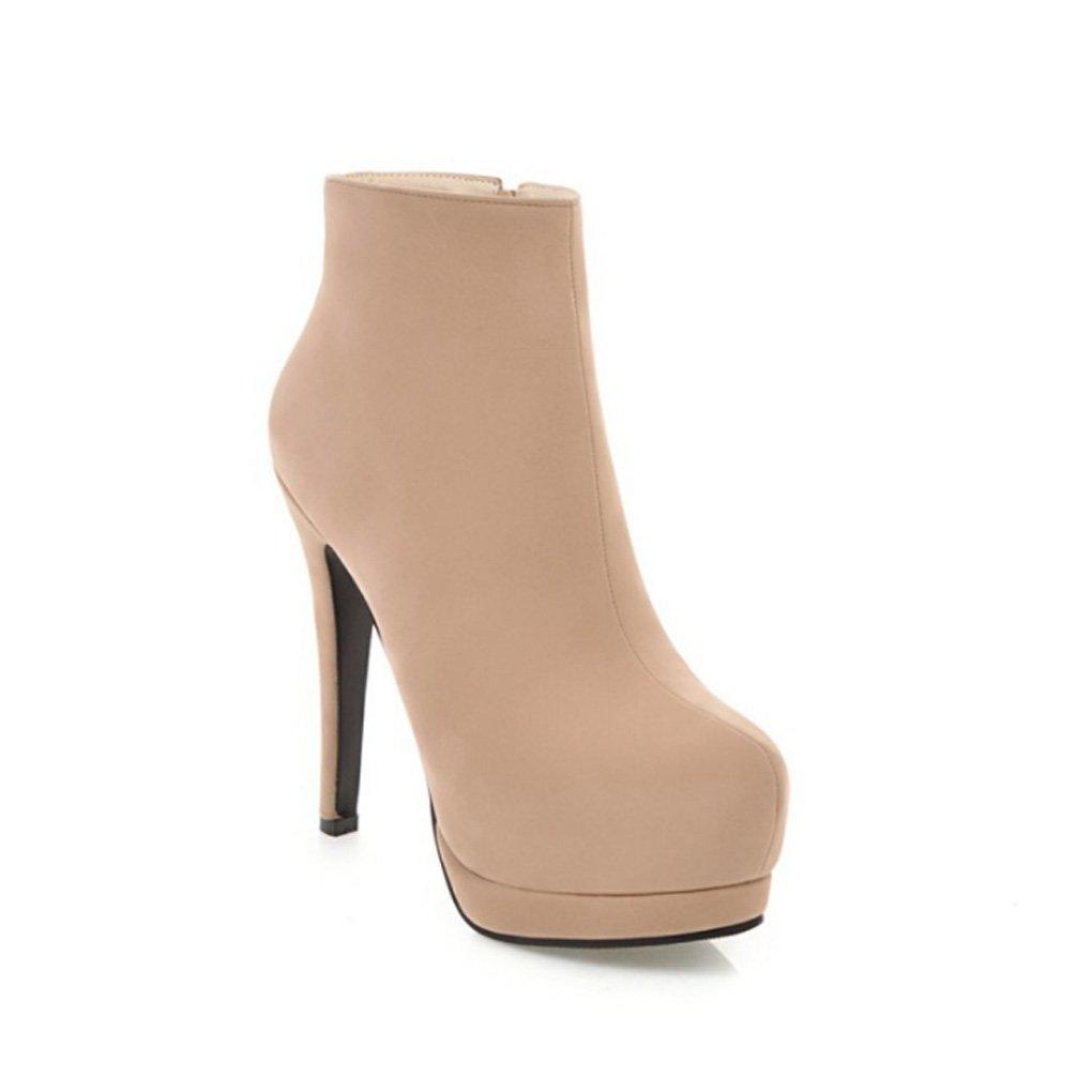QQNVXUE Kurze Stiefel Weibliche reizvolle dünne hohe Ferse Martin lädt Aufladungen auf Angenehm warm (Farbe   Beige größe   36)