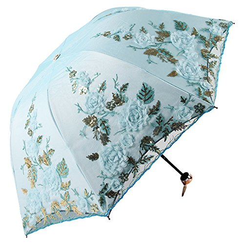 Honeystore Lace Parasol Decoration Bridal Shower Vintage Umbrellas for Wedding 1821 Blue