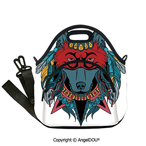 AngelDOU Tribal lightweight Portable Picnic tote lunch Bags Ethnic Warrior Wolf Portrait with Mask Feathers Native American Animal Art student cute girls mummy bag.12.6x12.6x6.3(inch)