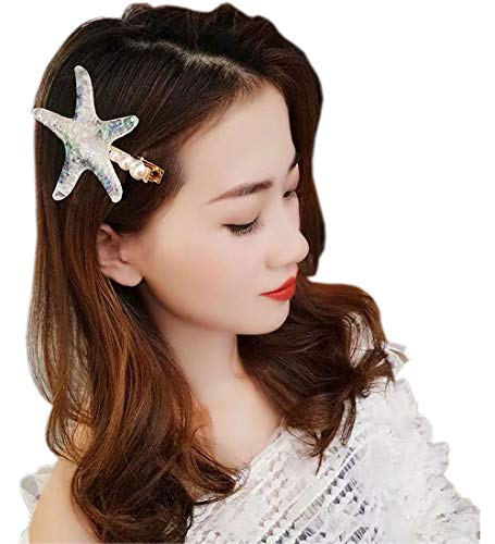 Adorable Starfish Barrette Fancy Pearl Starfish Hair Clip for Women or Girls for Beach Wedding Prom Mermaid Costume