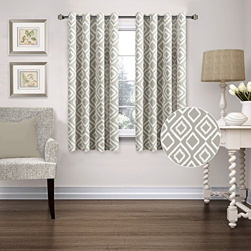 Printed Blackout Room Darkening Ikat Fret Printed Curtains Window Panel Drapes - (Greige Dove Pattern) 1 Pair, 52 inch wide by 63 inch long, Printed Pattern - By FlamingoP