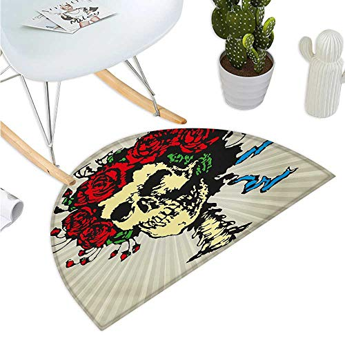 Rose Semicircular Cushion Tattoo Art Style Graphic Skull in Red Flowers Crown Halloween Composition Print Halfmoon doormats H 47.2