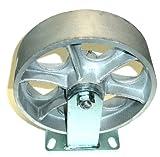 (One) DuraStar Heavy Duty Rigid Plate Caster 10'' x 3'' Steel Wheel (Top Plate 4-1/2'' x 6-1/4'') (2500# Cap.)