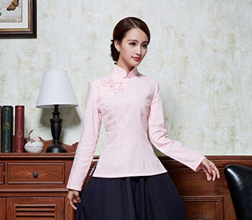 Fleur ACVIP Plusieurs Claire Longue Rose Chinoise Style Veste Tang pour Blouse Couleurs Femme Manche Chemise Devant Rtro de xqqCrwTSY