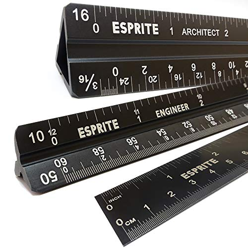 Architectural Pc - Architectural Scale Ruler, Engineering Scale and 12 inch Metal Ruler Set, Hollow Architecture Ruler with Solid Engineer Triangular, Laser Etched Metal Scale Rulers-3 PCS Lightweight