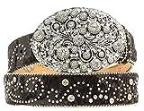 Nocona Women's Hair-On-Hide Embellished Buckle Belt Black Small