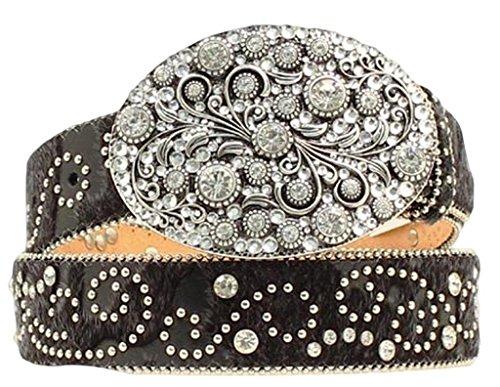 Black Hair Belt (Nocona Women's Hair-On-Hide Embellished Buckle Belt Black)