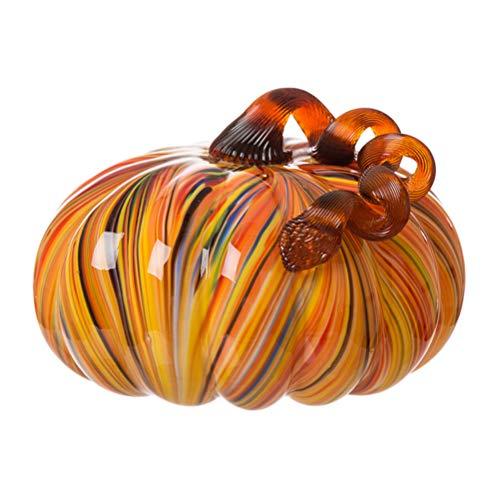 Glitzhome Multi Striped Large Glass Pumpkin ()