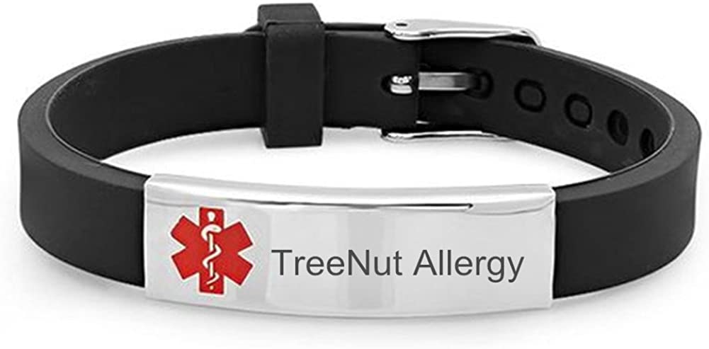 Sunling Custom Adjustable Silicone Medical Alert Food Tree Nut Allergy Awareness Identification Bracelet Bangle for Kids Adults Daily Emergency SOS Life Saver for Son,Daughter,Parents,Free Engraving