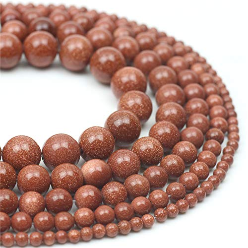 Oameusa Natural Round Smooth 6mm Gold Sand Goldstone Beads DIY Materials Bracelet Necklace Earrings Making Jewelry Agate Beads for Jewelry Making 15