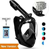 Poppin Kicks Full Face Snorkel Mask for Adult Youth and Kids | 180° Panoramic View Anti-fog Anti-leak Easy Breathe No Mouthpiece | GoPro Compatible w/Detachable Camera Mount