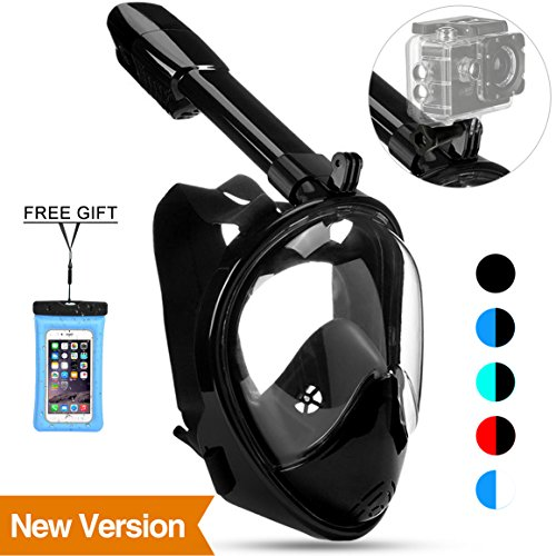 (Poppin Kicks Full Face Snorkel Mask for Adult Youth and Kids | 180° Panoramic View Anti-fog Anti-leak Easy Breathe No Mouthpiece Design | GoPro Compatible w/Detachable Camera Mount Black S/M)