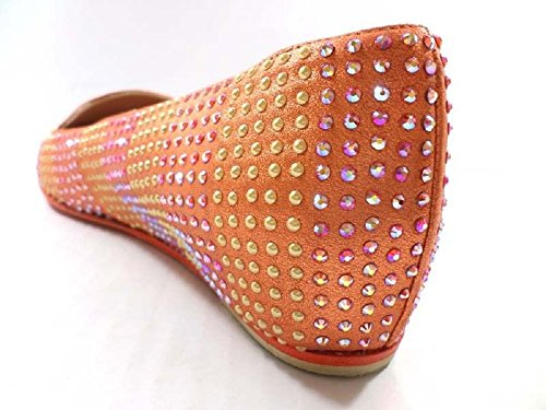 Chaussures Femme EDDY DANIELE 36 ballerines Orange strass AX687