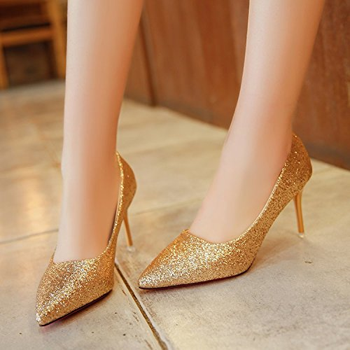 Xue Qiqi Punta Punta Punta di alta scarpe tacco superficiale opaca bocca scarpe unico fine con calzature donna,37, oro f6ca64