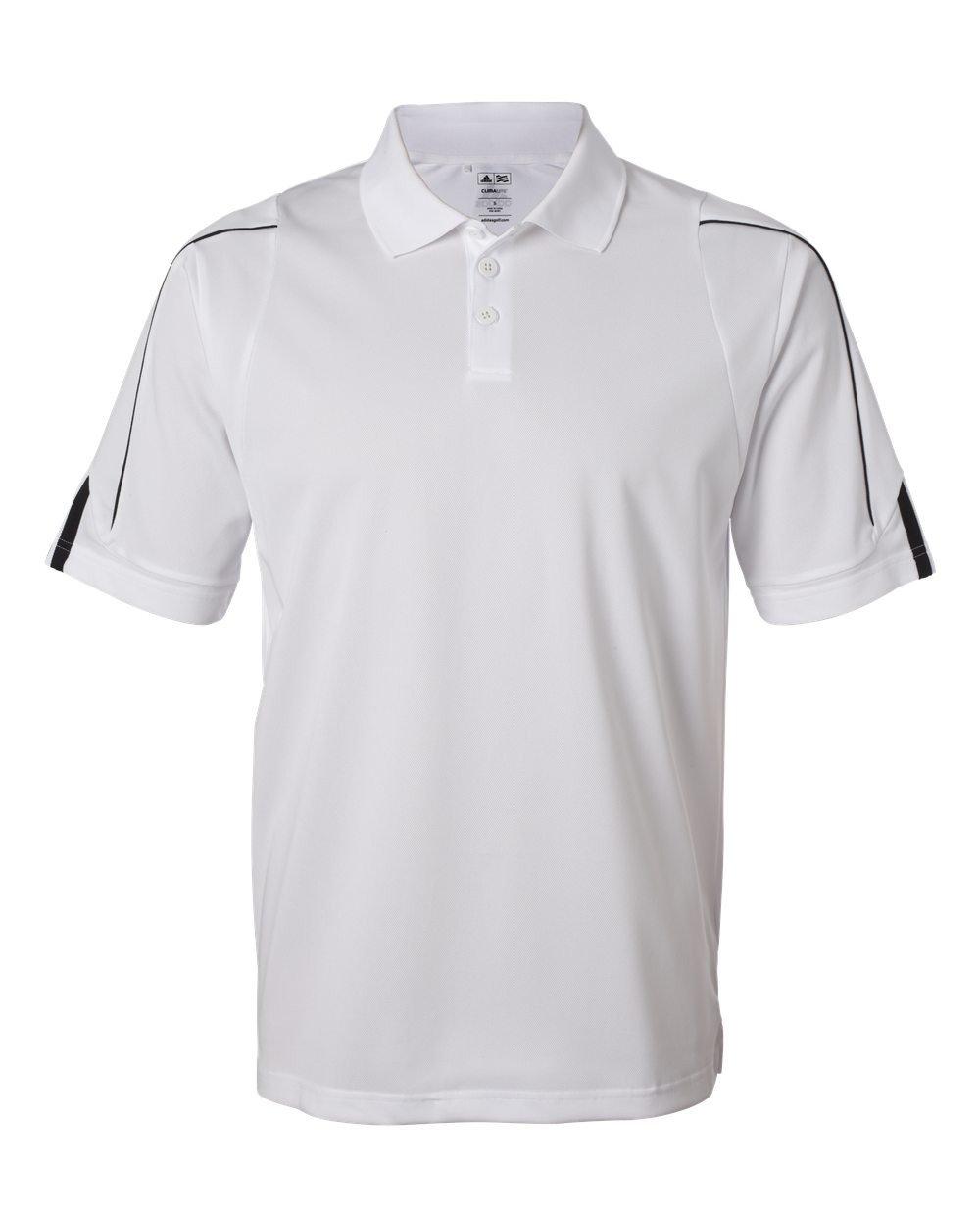 adidas Men's Climalite 3-Stripes Cuff Piqué Polo (White/Black) (Small)