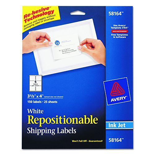 Avery Repositionable Shipping Labels for Inkjet Printers 3-1/3