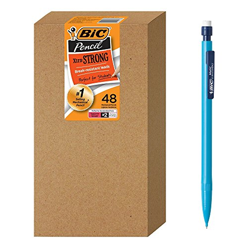 (BIC Xtra-Strong Mechanical Pencil, Colorful Barrel, Thick Point (0.9mm), 48-Count)