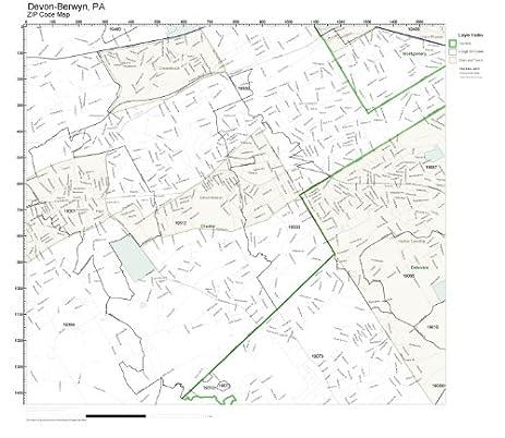 Amazoncom ZIP Code Wall Map of DevonBerwyn PA ZIP Code Map Not