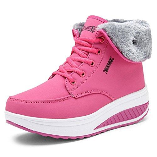 Impermeable Antideslizante Forro Suela Felpa Minetom Con Cuña Deportivo Caliente Botas Zapatos Suave De Mujer Invierno Botines Rosa Calzado ExnqwH4