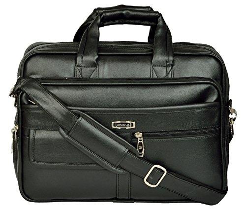 ZIPLINE Vegan Leather Executive Formal 15.6 Laptop & MacBook Briefcase Messenger/Office/Travel/Executive/Business Bag for Men Women with Multiple compartments (Black)