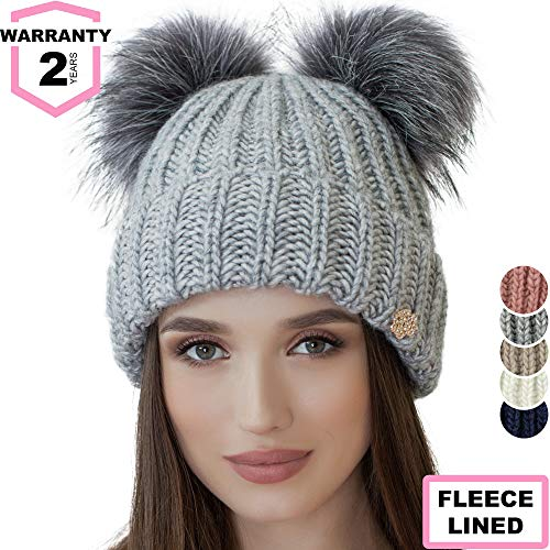 Braxton Beanie Women - 2 Pom Cable Knit Winter Warm Fleece Hat - Wool Snow Cuff Grey Ski Cap