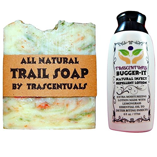 Outdoors Soap and Insect Repellent Combo Bugger-It Lotion w/Lemongrass Essential Oil as Active Ingredient and All Natural Trail Soap by Trascentuals