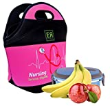 Nurses Insulated Lunch Tote Bag X-large, X-Thicker Insulation Stylish Luxury Nurse Gift Idea by EatRite (Fuchsia/Black)