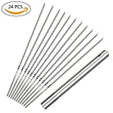 ProMaker 24 Pack Stainless Steel BBQ Barbecue Skewers Flat Metal Roasting Fork Grilling Kabob Skewers Set Reusable BBQ Sticks with Portable Storage Tube For Home Outdoor Barbeque