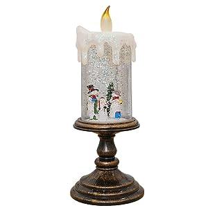 JXHD Luz De Vela De Cristal De Led Sin Llama/Luz De Noche De Papá Noel, DíA De San ValentíN, Halloween, Navidad, DecoracióN De CumpleañOs, 10.5 × 10.5 × 27 Cm,Snowman