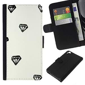 KLONGSHOP // Tirón de la caja Cartera de cuero con ranuras para tarjetas - Diamond Acuarela Dibujo minimalista - HTC Desire 820 //