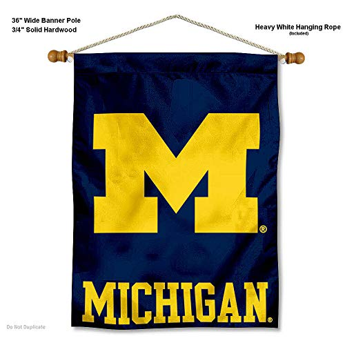 Michigan Wolverines Banner with Hanging Pole
