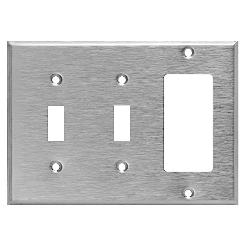 (Enerlites Combination Wall Plate (Double Toggle/Single Decorator Switch), Standard Size 3-Gang, Stainless Steel 430 Grade Alloy, 771231)