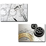 "Wall26 - Canvas Prints Wall Art - Caliper, Ruler and Pencil and Gears on Technical Drawings | Modern Wall Decor/ Home Decoration Stretched Gallery Canvas Wrap Giclee Print. Ready to Hang - 16""x24"" x 2 Panels"
