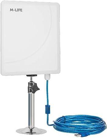 M de Life ml0649 – 5 Active Wi-Fi Antena USB 5 GHz Wireless USB Adaptador Antena Exterior IP65 23 dBi 5 m