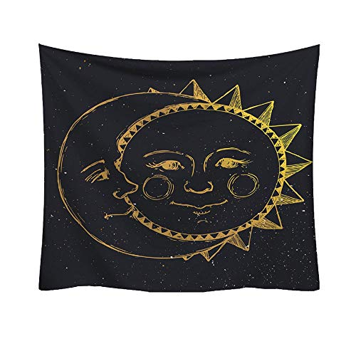 AKwell Tapestry Sun and Moon Tapestry Wall Hanging Fractal Faces Hippie Wall Tapestry Black & White Celestial Tapestry Indian Hippy Bohemian Mandala Tapestry -