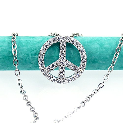 Sterling Silver Peace Necklace, Platinum Plated, Simulated Diamond, Cubic Zirconia