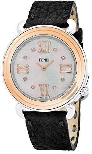 Fendi Selleria Womens Stainless Steel Rose Gold Fashion Swiss Watch with Diamonds - Mother of Pearl Face Black Leather Strap Dress Watch For Women with Interchangeable Band - Black Fendi