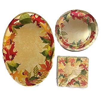 Fall Harvest Theme Disposable Dining Set - Paper Plates Napkins u0026 Serving Platter - Leaf  sc 1 st  Amazon.com & Amazon.com: Fall Harvest Theme Disposable Dining Set - Paper Plates ...