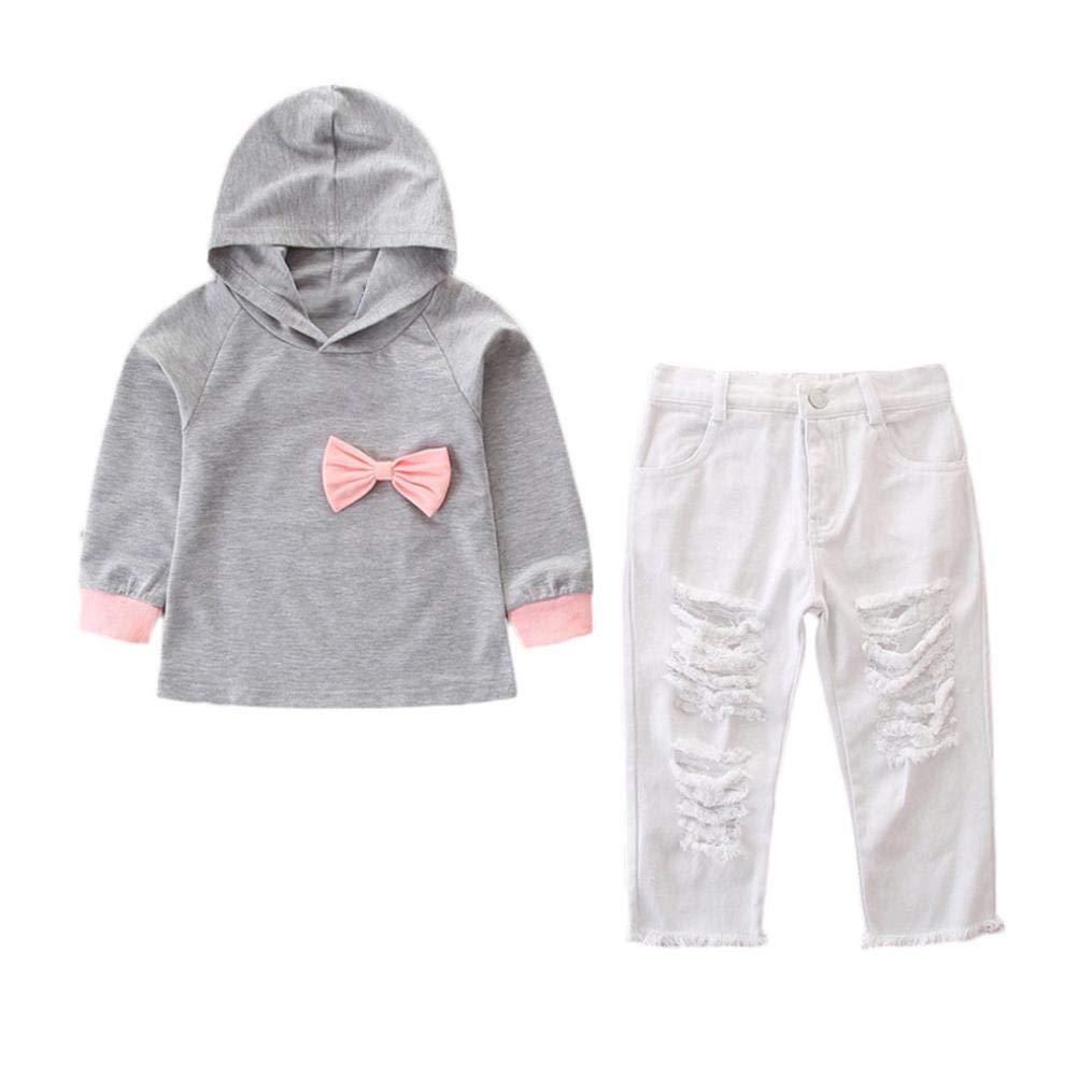 2pcs Neonata Completini, Manica Lunga Bowknot Felpa Incappucciato Cime + Solido Buco Denim Pantaloni Bambina Abiti