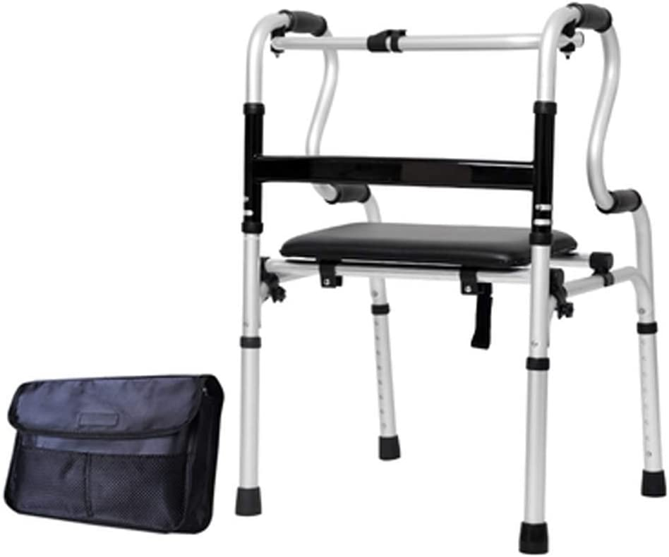 Giow Plegable con Placa de Asiento Ayudas para Caminar Rueda motriz Cuidado de la Salud Marco para Caminar para Ancianos, Adultos Mayores, discapacitados, discapacitados Máx.180 kg (400 LB)